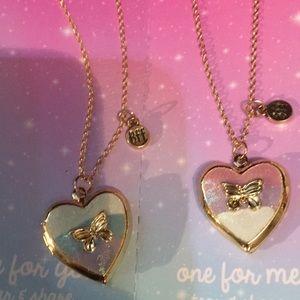 Bff Heart Gold Lockets w Butterflies Blue & Pink